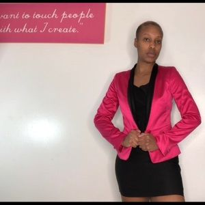 """Satin"" pink and black blazer"